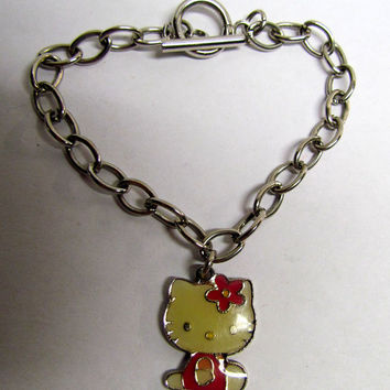 Vintage Hello Kitty Enameled Charm and Bracelet
