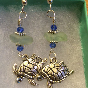 Floating Sea Turtles  Aqua Texas  Beaded Turtle dangle earrings, Sparkle Beachglass, Mermaid tears, Sea Glass Jewelry, Beach Glass Jewelry