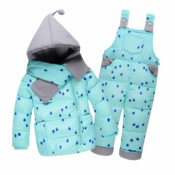 Winter Children's Clothing Set Kids Ski Suit Overalls Baby Girls and Boys Down Coat Warm Snowsuits 2 pc sets