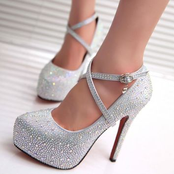 2017 women high heels prom wedding shoes lady crystal platforms silver Glitter rhinestone bridal shoes thin heel party pump 2068