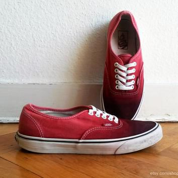 Blood red ombre Vans Authentic sneakers, upcycled vintage shoes, size US Men's 9 (US W