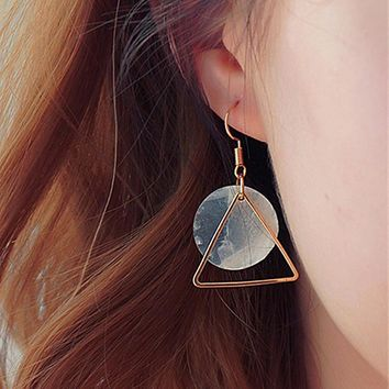 ES953 Drop Earrings For Women Triangle Natural Shell Dangle Earring Brincos Geometric Bijoux pendientes mujer