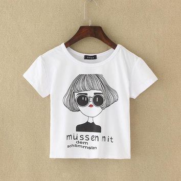 DCCKL3Z 2017 Graphic Tee New Summer Harajuku Cute Women T-Shirt Letter Print Cotton Crop Top T Shirt Short Sleeve Girl Tshirt