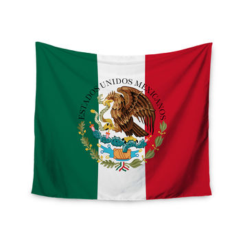 "Bruce Stanfield ""Mexico Flag And Coat Of Arms"" Red Green Wall Tapestry"