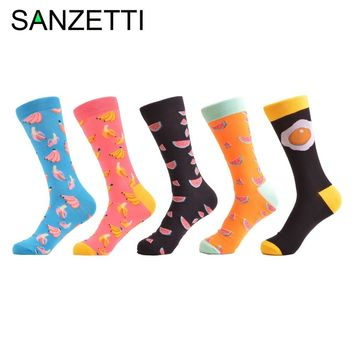 SANZETTI 5 Pair/Lot Classic Colorful Banana Watermelon Pattern Women Fashion Socks Casual life home funny Crew Socks For Gifts