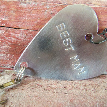 Best Man Handstamped Metal Heart Fishing Lure Fishing Wedding Favor or Fish Gift Dad Grandpa Husband Father Groom Anniversary Wife Fisherman