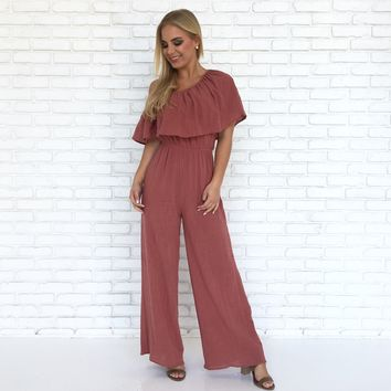 Hayden Linen Jumpsuit in Rust