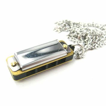 Classic Mini Harmonica Pendant Necklace in Silver - It works!