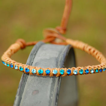 Sea Rhinestone Wrapped Leather Bracelet by authenticaboutique