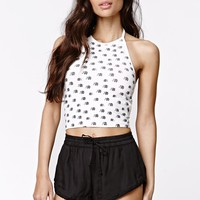 LA Hearts Elephant Halter Top - Womens Tee - White