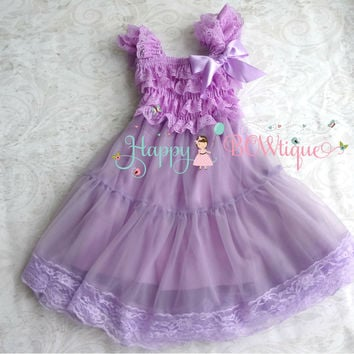 Lilac Plum Chiffon Lace Dress