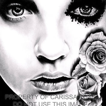 Horror Signed Art Print Dark Lowbrow Black and White Pretty - Rose of the Devils Garden Art Print By Carissa Rose 5x7, 8x10, or apprx 11x14