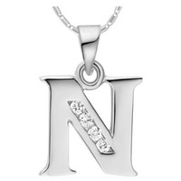 18K White Gold Plated Alphabet Initial Letter N Pendant Necklace