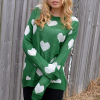 Heart to Heart Green Sweater