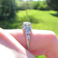Antique Diamond Engagement Ring, Platinum, European Cut Diamonds, Intricate Design, Edwardian to Art Deco Period