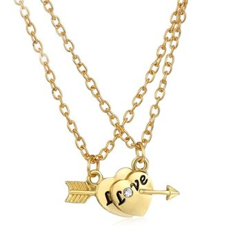 New Fashion love Heart Arrows pendant necklace love jewelry for women party jewelry lovers gifts