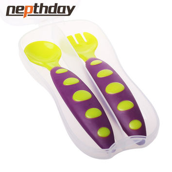 Safe Plastic Baby Spoon+ Fork Colorful Anti-Skid Handle Learning Tableware Children Dishes With Storage Box 2 pcs Set 13-175 148