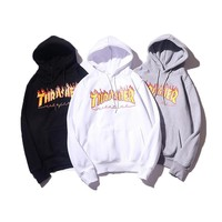 Thrasher Letters Hooded Long-Sleeved Sweater Coat