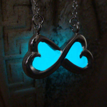 Glowing Pendant, Aqua Blue Bow, GLOW in the DARK, Glowing Necklace, Glow in the Dark Pendant, Glowing Jewelry, Glow in the Night