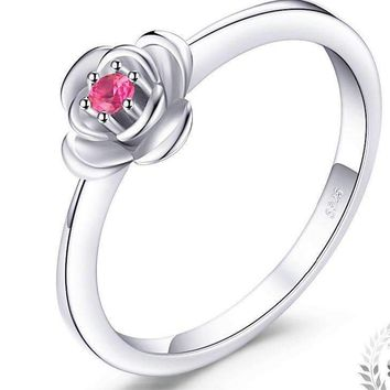 JewelryPalace Promise Love Rose-In-Bloom Created Ruby Ring 925 Sterling Silver Ring For Women