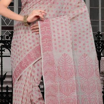 Off White and Red Bengal Handloom Cotton Tant Saree With Blouse Online Shopping: SPN686