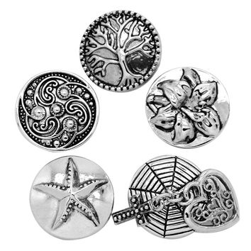 5PCs Vintage Mixed Round Lifetree Flower Star Snap Buttons