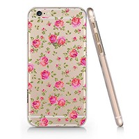 Floral Pattern Clear Transparent Plastic Phone Case for iphone 6 6s _ SUPERTR...