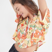 UO Cropped Button-Down Hawaiian Shirt | Urban Outfitters