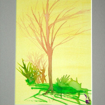 Abstract Painting,Green Woodsy Painting,Landscape Painting, original painting,watercolor painting