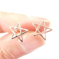 Star Shaped Outline Cut Out Stud Earrings in Rose Gold   DOTOLY