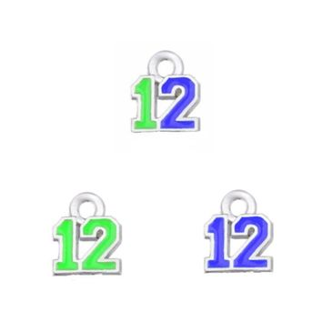 100PCS Newest 3 Style Enamel Football Team The Forever Seahawks 12 Dangle Charm For DIY Earring Necklace Bracelet