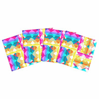 "Miranda Mol ""Triangle Checker"" Pastel Rainbow Indoor/Outdoor Place Mat (Set of 4)"