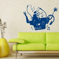 Wall Decals Vinyl Decal Sticker Stylish Man Love Music Art Design Room Nice Picture Decor Hall Wall Chu1313