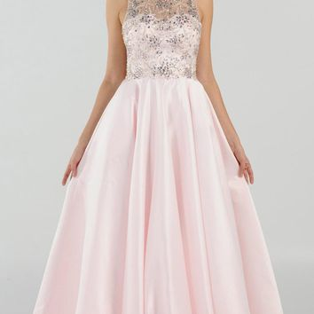 Blush Cut Out Back Beaded Long Prom Dress with Pockets