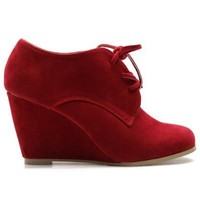 Ollio Women's Shoe Faux Suede Wedge Heel Fashion Ankle Lace Up Boot(8 B(M) US, Red)