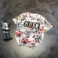 """Gucci""  Women Casual Letter Flowers Print Short Sleeve T-shirt Top Tee"