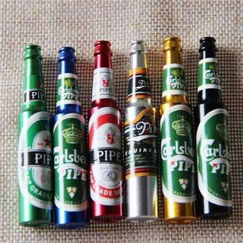 Mini Beer Smoke Metal Pipes Portable Creative Smoking Pipe Herb Tobacco Pipes Gifts narguile Weed Grinder Smoke 6 colors Pipes
