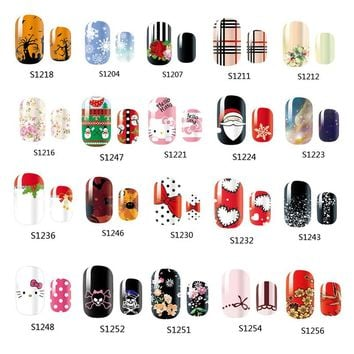 14 Tips NAIL Art Full Cover Self Adhesive Stickers Polish Foils Transfer Tips Wrap Flower Kitty Bowknots Decal Manicure