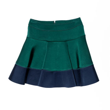 Monnalisa - Girls Neoprene Godet Two Tone Skirt, Green