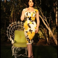 Erika Dress in Yellow Rose Print | Pinup Girl Clothing