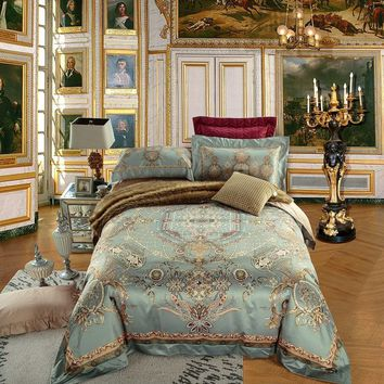 4/6 Pieces King Queen size Europe Luxury Bohemia Mandala Bedding set Egyptian Cotton Silky Duvet cover Bed sheet set Pillowcases