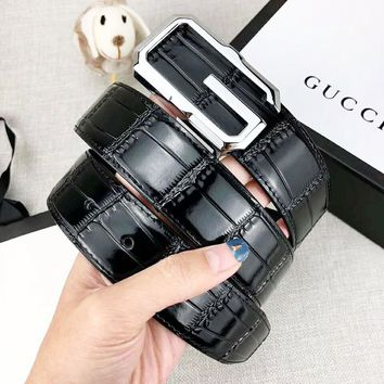 GUCCI  New fashion G letter buckle leather belt Black