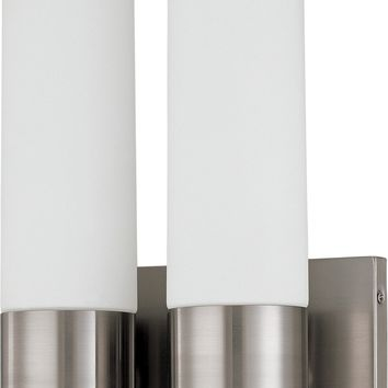 Twin Tube Wall Sconce in Brushed Nickel Finish with White Glass