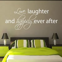 Wall Decals Quote Love Laughter Happily Ever After Vinyl Decal Dorm Decor KG870