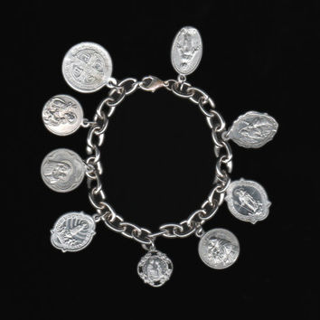 All Saints Bracelet OOAK handmade, silver plate chain with aluminum medals, super light and easy to wear