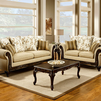 2 Pc. Desert Sand Classic Style Sofa Set with Accent Pillows - Made in the USA