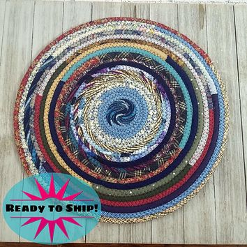 """R2S Handmade Table Mat Fabric Placemat 14"""" Diameter Blue Bohemian Multicolors Ready to Ship"""