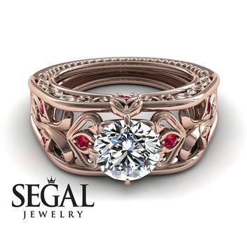 Unique Engagement Ring Diamond ring 14K Red Gold Art Deco Ring Filigree Ring White diamond With Ruby - Skyler
