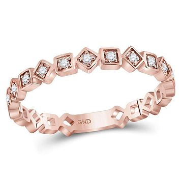 10k Rose Gold Women's Diamond Squares Stackable Ring - FREE Shipping (US/CA)