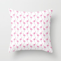 Pink Flamingo Pattern Throw Pillow by Tanyadraws